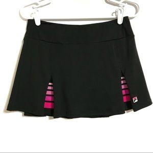 FILA Black Pink Accents Pleated Tennis Skort Small